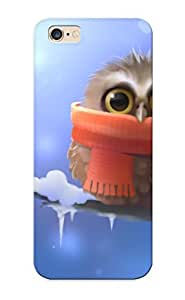 New Fashion Premium Tpu Case Cover For Iphone 6 - Owl Bird Snow Winter Drawing Scarf Cartoon Cute Eyes Pov Case For New Year's Day's Gift