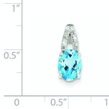 Color H-I, Clarity SI2-I1 Sterling Silver Rhodium Plated Diamond /& Light Swiss Blue Topaz Oval Pendant