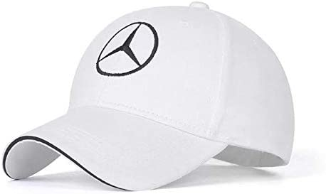 JDclubs Benz Logo Embroidered Adjustable Baseball Caps for Men and Women Hat Travel Cap Car Racing Motor Hat White