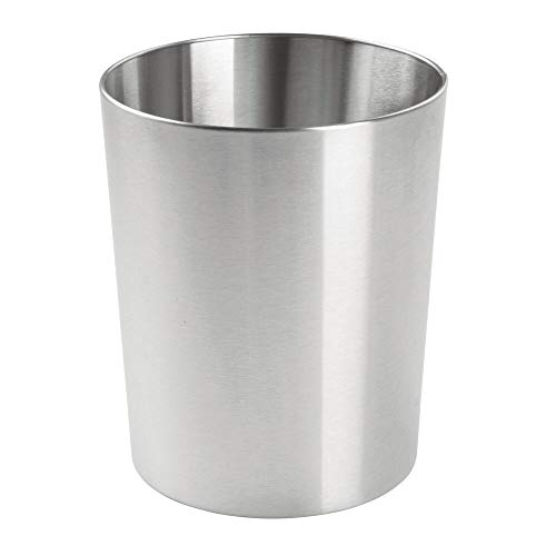 mDesign Round Metal Small Trash Can Wastebasket, Garbage Container Bin for Bathrooms, Powder Rooms, Kitchens, Home Offices - Durable Stainless Steel - Brushed