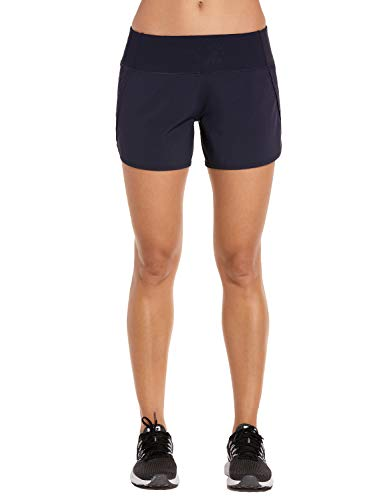 (CRZ YOGA Women's Workout Sports Running Shorts Pants with Zip Pocket - 4 inch Navy 4''-R403 XXS(00))