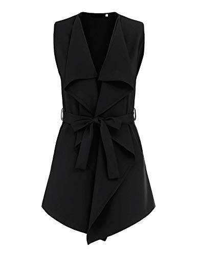 UAUNG Soft Solid Sleeveless Work Casual Open Front Notched Lapel Collar Blazer Vest (Black,XL) (Notched Collar Vest)