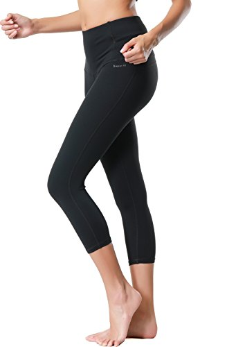 Dragon Fit Compression Yoga Pants Power Stretch Workout Leggings With High Waist Tummy Control, 03black-capri, (Fit Stretch Capri)