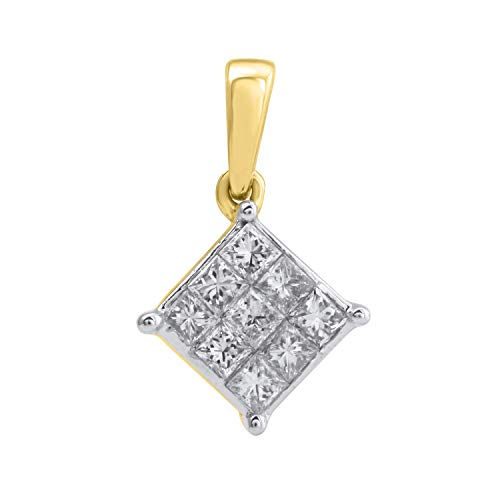 10k Yellow Gold Diamond Square Cluster Pendant (1/3 cttw, H-I Color, I2-I3 Clarity), 18