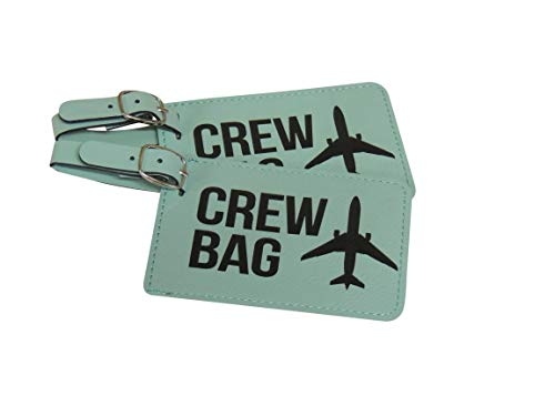 Crew Bag Tag, Set of Two with Graphic with (Teal)