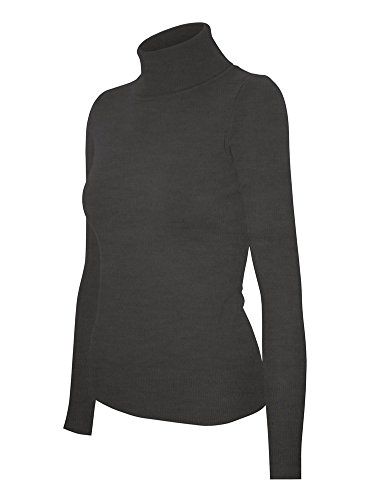 Cielo Women's Solid Basic Stretch Turtleneck Pullover Knit Sweater Charcoal Grey XL