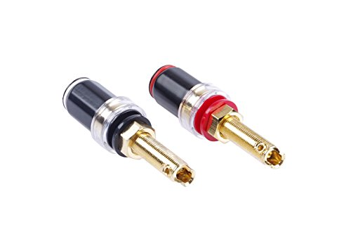 KNACRO Speaker Cable Audio Amplifier Terminal Banana Jack Binding Post Long Thread Copper Body Pure-copper gold-plated material Black + Red ()