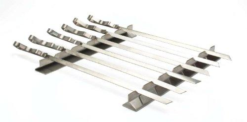 Edelstahl-Grill Kebab Rack mit 6 x Spieß Set in Nylontasche . Länge 45cm Breite 1 cm Dicke 1,5 mm. Für alle Ihre Grill Bedürfnisse.