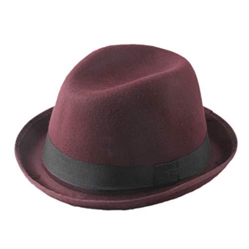 Mens Wool Felt Trilby Fedora Hat Fold Brim Billycock Sag Top Bowler Jazz Hats with Black ()