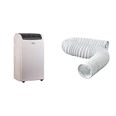 BLACK+DECKER Portable Air Conditioner Unit, Window Vent Kit, 4 Caster Wheels, White
