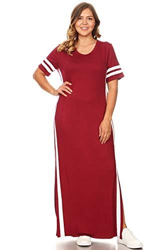 - Vibe Sportswear Striped Maxi Dress, Short Sleeved, Side Slits, 2X, Brgndy/White