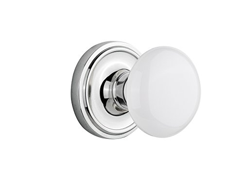 (Nostalgic Warehouse Classic Rosette with White Porcelain Door Knob, Privacy - 2.375