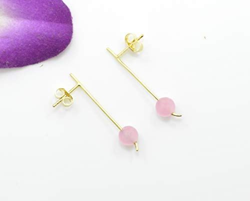 Delicate Pink Chalcedony Gold Plated Earring Silver 925, Baby Pink Gemstone, Berlin Jewellz
