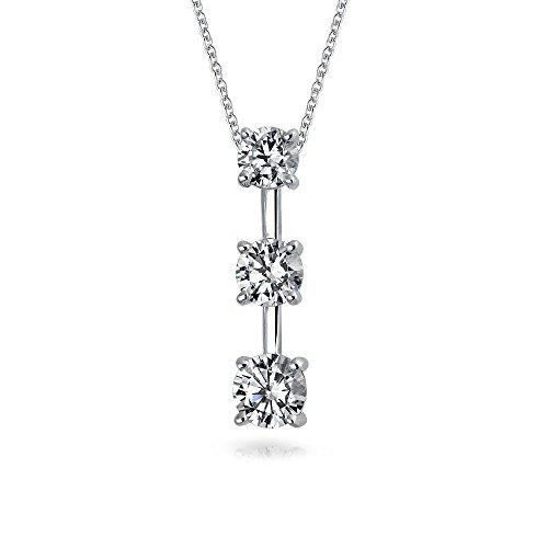 2.5CT Solitaire Round Cubic Zirconia AAA CZ Past Present Future Pendant Necklace For Women For Wife 925 Sterling Silver