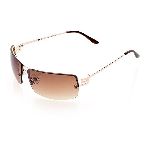NYS Collection Eyewear Varick Street Metal Sunglasses (Gold, - Eyewear Nys
