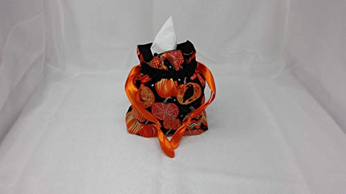 TISSUE BOX COVER/LINED GIFT BAG/HALLOWEEN PUMPKINS/GLOW IN THE DARK / 2 IN ONE USES/Satin Orange Ribbons -