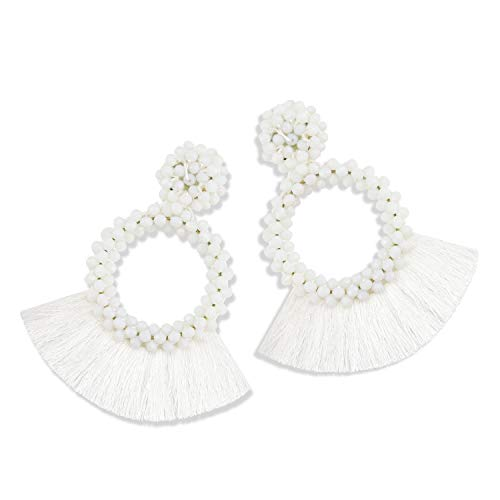 White Mens Earring - Statement Tassel Bead Earrings for Women, Drop Dangle Round Beaded Hoop Fringe Bohemian Earrings Women Girl Novelty Fashion Summer Accessories - E1 White