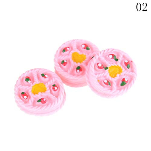 1 lot 3PCS Kitchen Food Cute Cakes 1:12 Dollhouse Miniature Cakes Food Models Dollhouse Accessories Kitchen ()