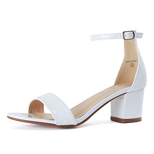White Patent Ankle Straps - Guilty Shoes - Jean 07 White Patent, 10