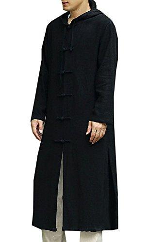 Plaid&Plain Men's Hood Frog Buttons Casual Linen Trench Coats Overcoat Black M