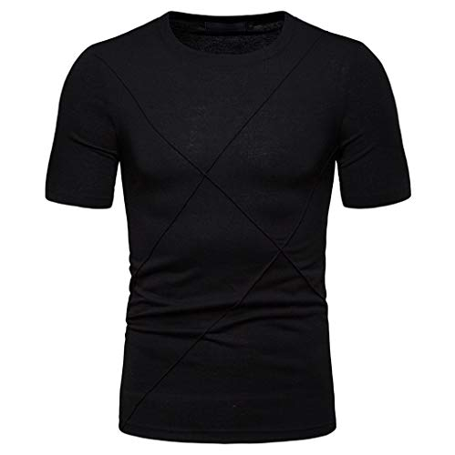 Men's Solid Color T Shirt Crew Neck Short Sleeve Slim Fit Tops Sweatshirts Shirts for Workout Daily Casual Black