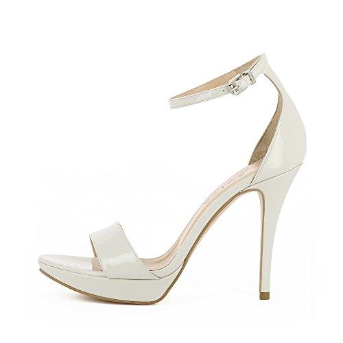 Femme Evita Verni Sandales Valeria Cuir Shoes Crème qq1BvO