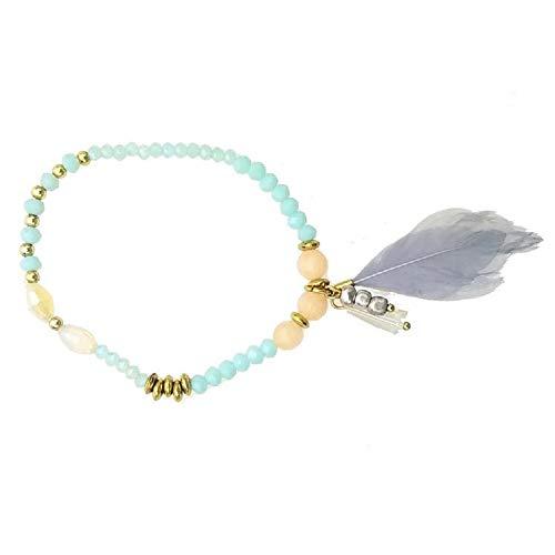 (Pink Pewter Zigi Beaded Elastic Bracelet - Aqua/Grey)