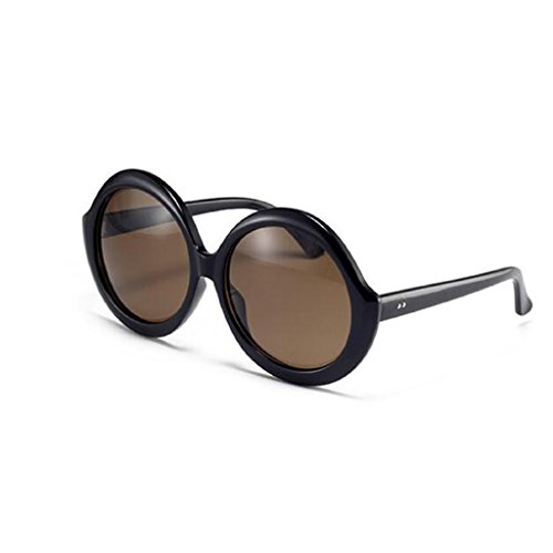 Luz Harajuku Negro Sol De Moda Gran Simple QZ De Redondo Polarizada HOME Marco Color Gafas Vintage Marrón Personalidad tBxtYqIw