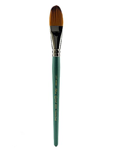 Silver Brush 6809S034 Crystal Golden Synthetic Filament Short Handle Brush with Brown Tip and Nickel Plated Brass Ferrules, Pointed Oval, 3/4-Inch by Silver Brush Limited