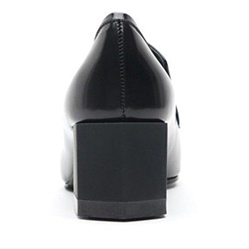 Karen White Zapatos De Estilo Mocasín Negro Para Mujer Zapatos De Tacón Alto De Cuero Genuino Negro