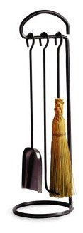 - Enclume 3 Piece Fireplace Tool Set with Stand, Hammered Steel