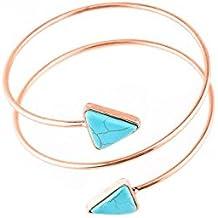 MANZHEN Double Triangle Swirl Upper Arm Cuff Armlet Armband Bangle Bracelet Arrow Bangle Adjustable