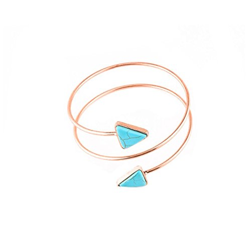 MANZHEN Double Triangle Swirl Upper Arm Cuff Armlet Armband Bangle Bracelet Arrow Bangle Adjustable(Rose Gold)