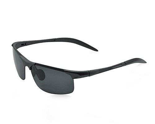 Polarized Sports Sunglasses Classic Outdoor Cycling Glasses Ultra-light Frame Lmitation Aluminun Magnesium Sunglasses (Pewter Frame with Gray Lens)