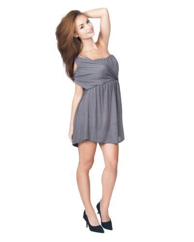 KOH KOH Womens One Shoulder Grecian Cocktail Evening Sexy Cut Out Mini Dress Ruched Empire Waist Versatile Nice Simple Cute Dresses, Color Gray / Grey, Size Large L 12-14