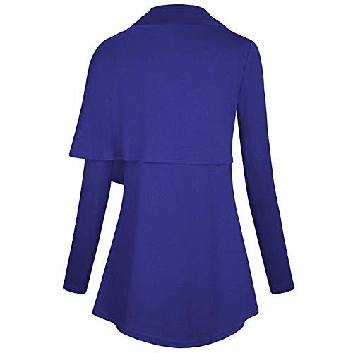 Larga Mujer Suéter Xmiral Manga Casual Para Asimétrico Azul dyFrCy