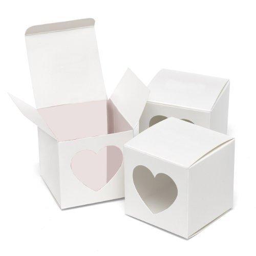 Heart Window Favor Boxes (Hortense B. Hewitt Wedding Accessories Heart Window Favor Boxes, 25 Count, White)