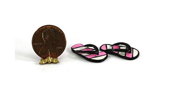 White Dollhouse Miniature 1:12 Scale Pair of Pink /& Black Flip Flops