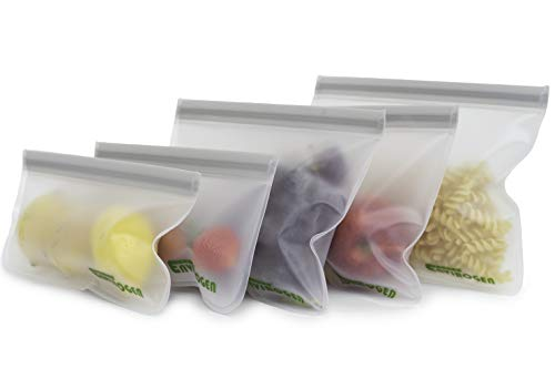 Envirogen Reusable Storage Bags (5 pack) for Food | Kids Snacks | Resealable | Freezer | Lunch Sandwiches | Fruit | EXTRA THICK | Leakproof | Travel Items