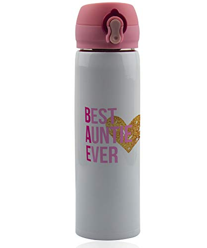 Best Auntie Ever gift. Aunt birthday gifts - BAE coffee thermos and water bottle. 17 oz.