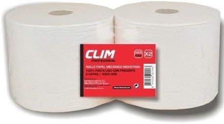 Pack de 2 rollos de Celulosa industrial de 2 capas 100% celulosa extrablanca, resistente y absorbente