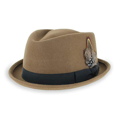 Belfry Crushable Porkpie Fedora Men's Vintage Style Diamond Hat 100% Pure Wool (XXLarge, Pecan)
