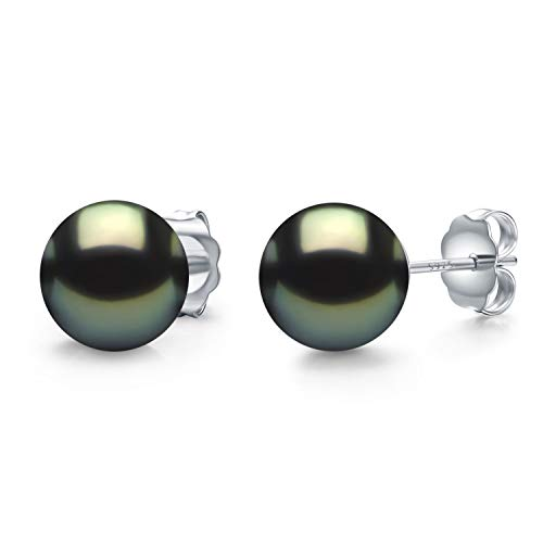 CHAULRI Real 14K Gold Tahitian Cultured Black Pearl Stud Earrings 8-8.5mm Round - Birthday Anniversary Gifts for Women