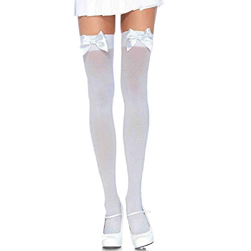 - Leg Avenue Womens Satin Bow Accent Thigh Highs