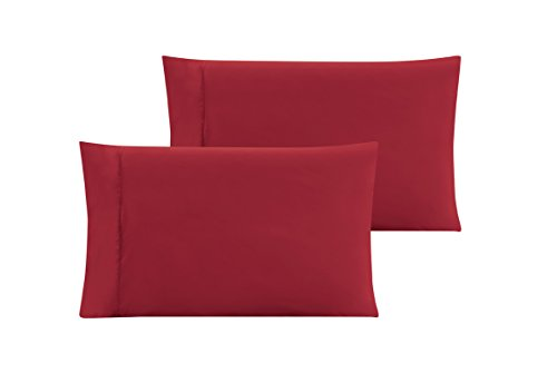QUEEN size Solid BURGUNDY RED Pillow Cases 1500 Thread Count Egyptian Quality 2 piece set, Silky Soft & Wrinkle Free (Red Orange Pillows)