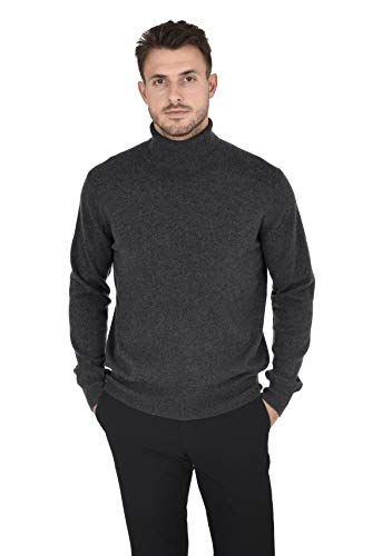 - Cashmeren Men's Wool Cashmere Classic Knit Soft Long Sleeve Turtleneck Pullover Sweater (Charcoal, Medium)