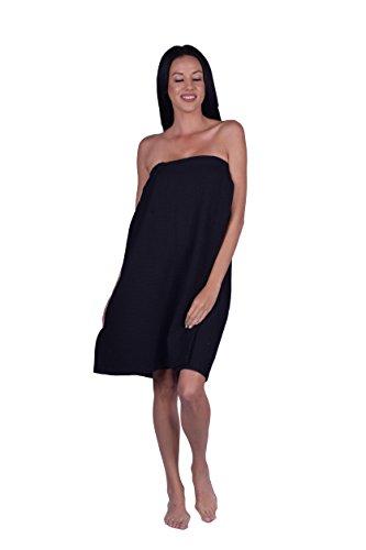 (Turquoise Textile Women's Waffle Weave Spa Wrap, Shower Wrap, Beach Wrap, Bath Wrap, 100% Natural Turkish Cotton, Made in Turkey (Black))