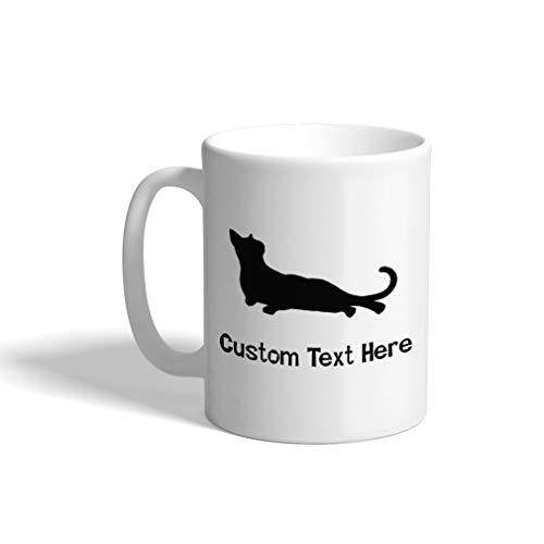 Custom Funny Coffee Mug Coffee Cup Russian Blue Cat Silhouette B White Ceramic Tea Cup 11 OZ Personalized Text Here ()