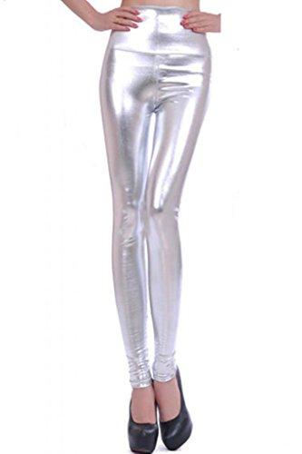 Lotsyle Women's High Waist Faux Leather Leggings (Silver L)]()