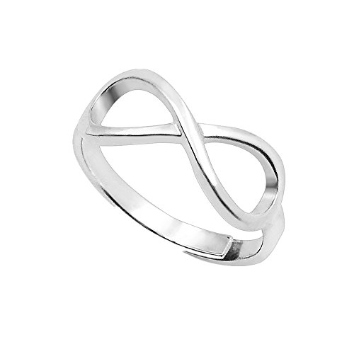 a266XDKSJK Infinity Silver Rings Heart Shaped Birthstones Engraved Ring Personalized Name Ring Promise Rings Made Gift for Her (Infinity silver adjustable) by a266XDKSJK